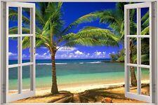 Cheap 3D Window view Exotic Beach Wall Sticker Film Mural Art Decal 325