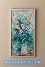 MID CENTURY MODERN EXPRESSIONIST ABSTRACT ORIG. OIL PAINTING! Art Vtg 60's Eames