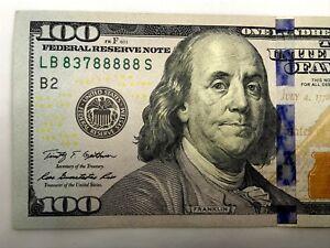2009-A $100 (6 of a kind) U.S. Bill  Block # LB/S  83788888 Almost Uncirculated.