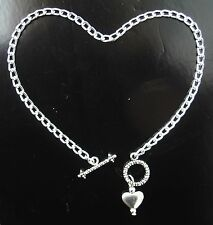 "custom anklet with shiny heart pendant Silver aluminum chain Nickel Free 10"" or"