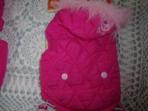 PINK SKULL Puppy Dog Jacket w/ Fur coat XS S pet parka hoodie SimplyDog XSmall