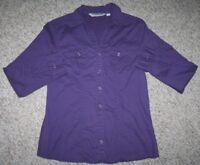 Small Great Northwest Purple Cotton Women's Two Pocket Dress Shirt Long Sleeve