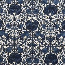Maya Floral Design on 100% Cotton Lawn Dressmaking Fabric in Navy Blue - METRE