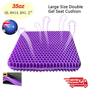 Double Gel Seat Honeycomb Comfort Cushion Flex Back Support Spine Protector &Bag