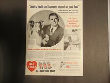 1947 RED HEART DOG FOOD LASSIE & Rudd Weatherwax vintage art print ad