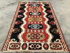Authentic Hand Knotted Vintage Traditional Turkish Wool Kilim Area Rug 5 x 3 Ft