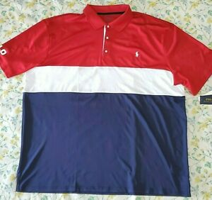 Polo Ralph Lauren Men Performance Polo Shirt Red Stripe Stretch Big & Tall 3XB