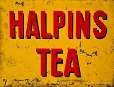 "TIN SIGN ""Halpins Tea"" Caffeine Deco  Garage Wall Decor"