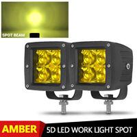 2PCS 3INCH LED WORK LIGHT BAR SPOT OFFROAD ATV FOG TRUCK LAMP 4WD SUV UTE YELLOW