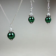 Dark green pearls crystal necklace earrings wedding bridal silver jewellery set
