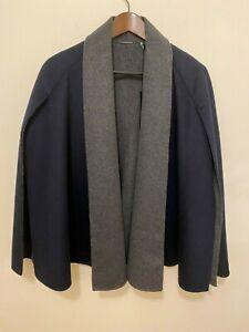 T Tahari Women's Wool Blend Short Cape/Coat Navy/Gray Size S NWT