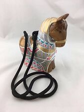 TIMMY WOODS BEVERLY HILLS HAND PAINTED WOODEN HORSE SMALL SHOULDER BAG