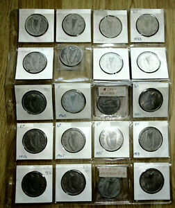 20x (10x Silver) 1928 to 1967 Different IRISH Ireland Half Crowns Coin VF - BUNC