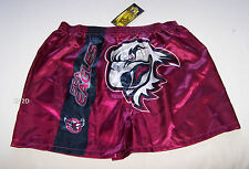 Manly Sea Eagles NRL Mens Maroon Satin Boxer Shorts Size L New