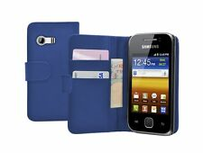 BLUE WALLET Leather Flip Case Cover Pouch for Samsung GT-S5360 Galaxy Y Young