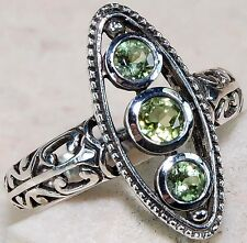 2 ct Genuine Peridot 925  Solid Sterling Silver Victorian Ring Style Sz 6.5