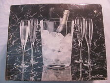 New Remo 5 Piece Champagne Set Ice Bucket & 4 Glasses Hand Blown Tuscany