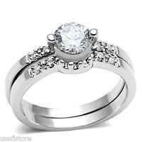 Ladies Two piece 0.85ct  CZ Wedding Set White Gold EP Ring