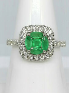 Kagem Emeralds and Zircons set in Platinum over .925 Sterling Silver, Ring Sz. 7