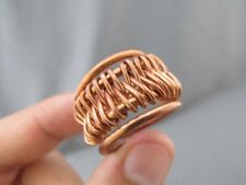 MODERNIST WIDE CIGAR BAND HAND MADE BRAIDED COIL ROUND COPPER RING