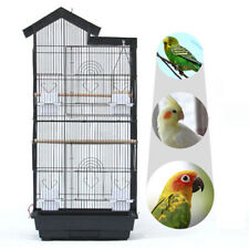 Steel Bird Parrot Cage Canary Parakeet Cockatiel W Wood Perches Food Cups