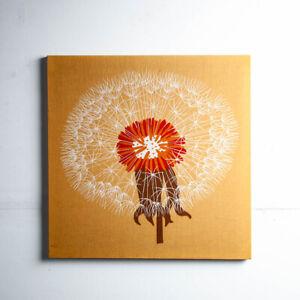 Mid Century Modern Tapestry Dandelion 70s Square Brown Canvas Print Vintage Art