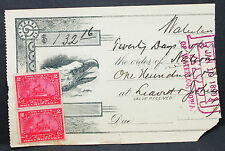 US Check National Lead Bank Waterloo Paid Documentary Stamp Rate 4c (H-6789+