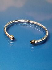 Black Onyx Stone  Silver Gold Finish  Designer Inspired   Open Cuff Bracelet NEW