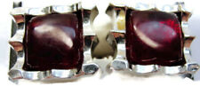 Foster Red Stone Square Mid Century Silver Tone Vintage Cufflinks