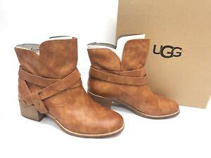 UGG Australia Women's Elora Chestnut 1017471 Leather Suede Slip On Booties