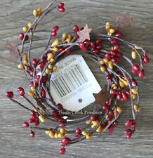 """2"""" Pip Berry Candle Ring with Rusty Stars - Burgundy and Gold"""