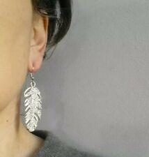 Long Leaf Drop Earrings Silver Diamante Crystal Rhinestone Dangle Feather Party