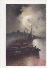 Moonlight On The River Van Hier Vintage Art Postcard 608a