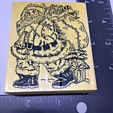 Rubber Stamp Santa Delivering Big Sack Christmas Gifts and Presents Wood Mount