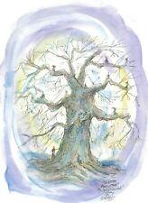 LITTLE FAIRY TREE Fairies soft blue violet artist signed print by JOHN R YORK