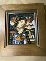 "Antique ""Mary And Crucifixion Scene"" Reverse Oil On Glass Painting - Framed"