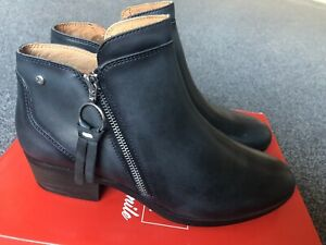BRAND NEW PIKOLINOS DAROCA ladies low heel ankle boots - navy leather UK 6.5/40