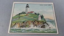 Antique LIGHTHOUSE SERIES 1 HASSAN Tobacco Card Early 1900's Owls Headlight