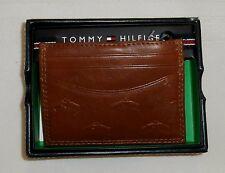 TOMMY HILFIGER wallet MENS card case front pocket valet SADDLE BROWN LEATHER