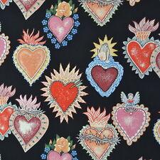 1m alma y corazones noir, alexander henry tissu par mètre mexique coeurs prière