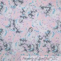 BonEful FABRIC FQ Cotton Quilt Pink Gray Purple White Blue Flower Dot Lace Girl