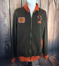 ZOO YORK 93 Spell Out Orange Brown Full-Zip Mens XXL Sweatshirt Track Jacket
