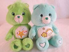 "Lot of -2-Care Bears-2006 12"" Blue Wish Bear & 2007 14"" Green Oopsy Bear Plush"