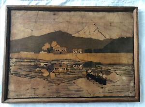 Framed Original Batik Textile Fabric Art Landscape