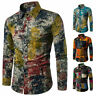 Floral Mens Dress Shirt Dashiki Hippie Shirts Slim Fit Tops Hip Hop Casual Shirt