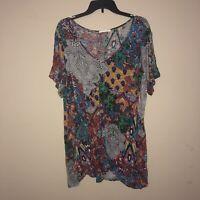 Spense 2X Women's Plus Size Cold Shoulder Mixed Print Tunic Top Floral Mandala