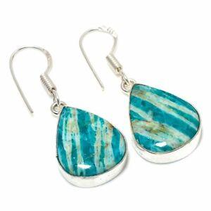 "Amazonite Gemstone 925 Silver Plated   Jewelry Earring 1.46 "" RL-25264"