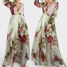 Plus S-5XL Femmes Col V Manche longue Floral Soirée Cocktail Chemise Maxi Robe