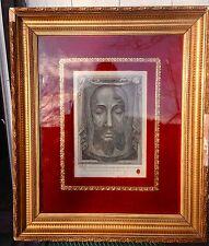 1884 RARE ANTIQUE SIGNED  VERONICA'S VEIL HOLY FACE FRAME  RELIC  RELIQUARY WAX