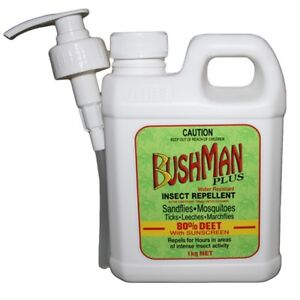 BUSHMAN PLUS GEL PUMP PACK 1kg - Mosquito Insect Repellent 80% DEET + SUNSCREEN